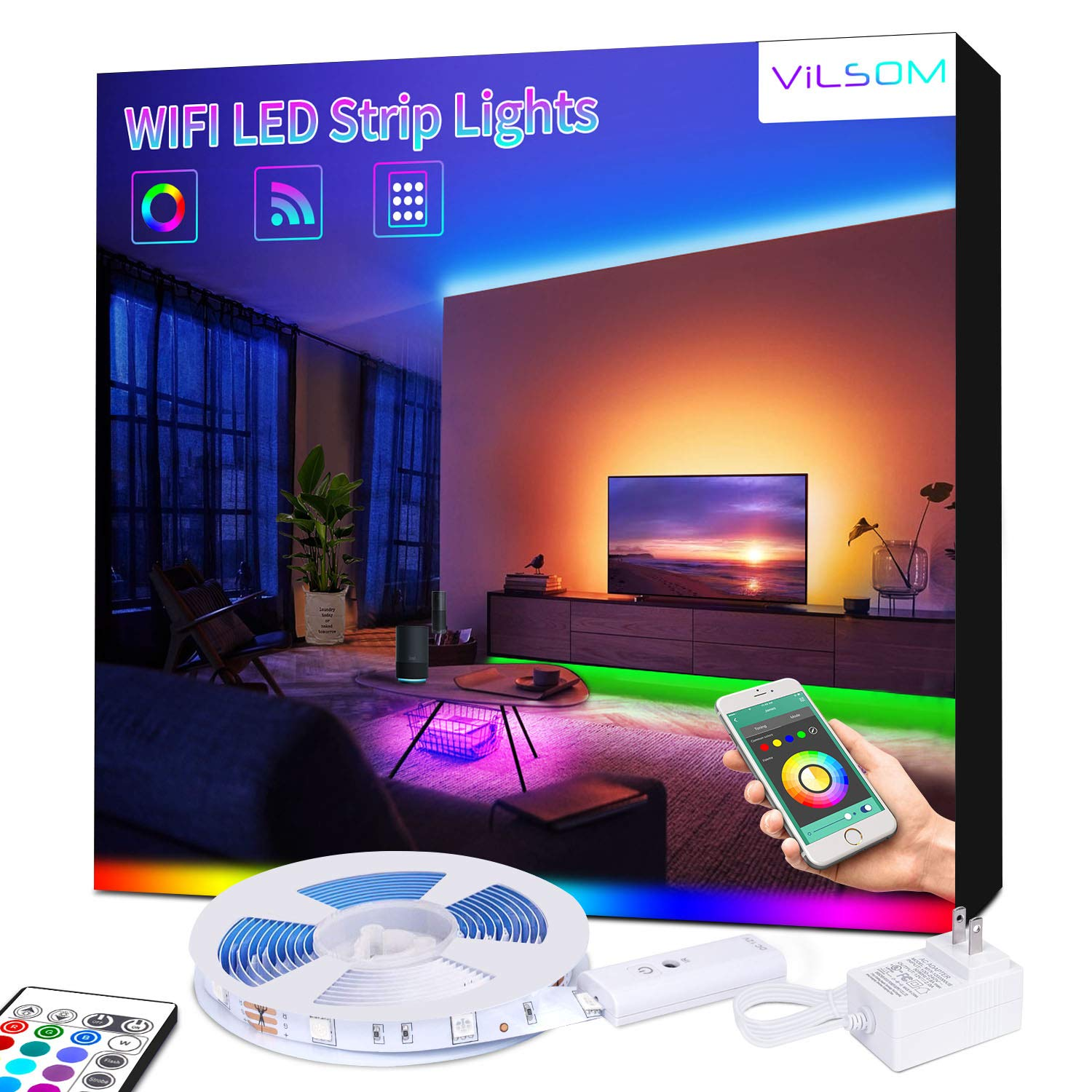 WiFi Smart LED Strip Lights - ViLSOM Voice App Controlled LED Light Strip, RGB 16 Million Color Changing Rope Lights for Bedroom, Room Decor, Works with Alexa, Google Home, iOS and Android, 16.4ft