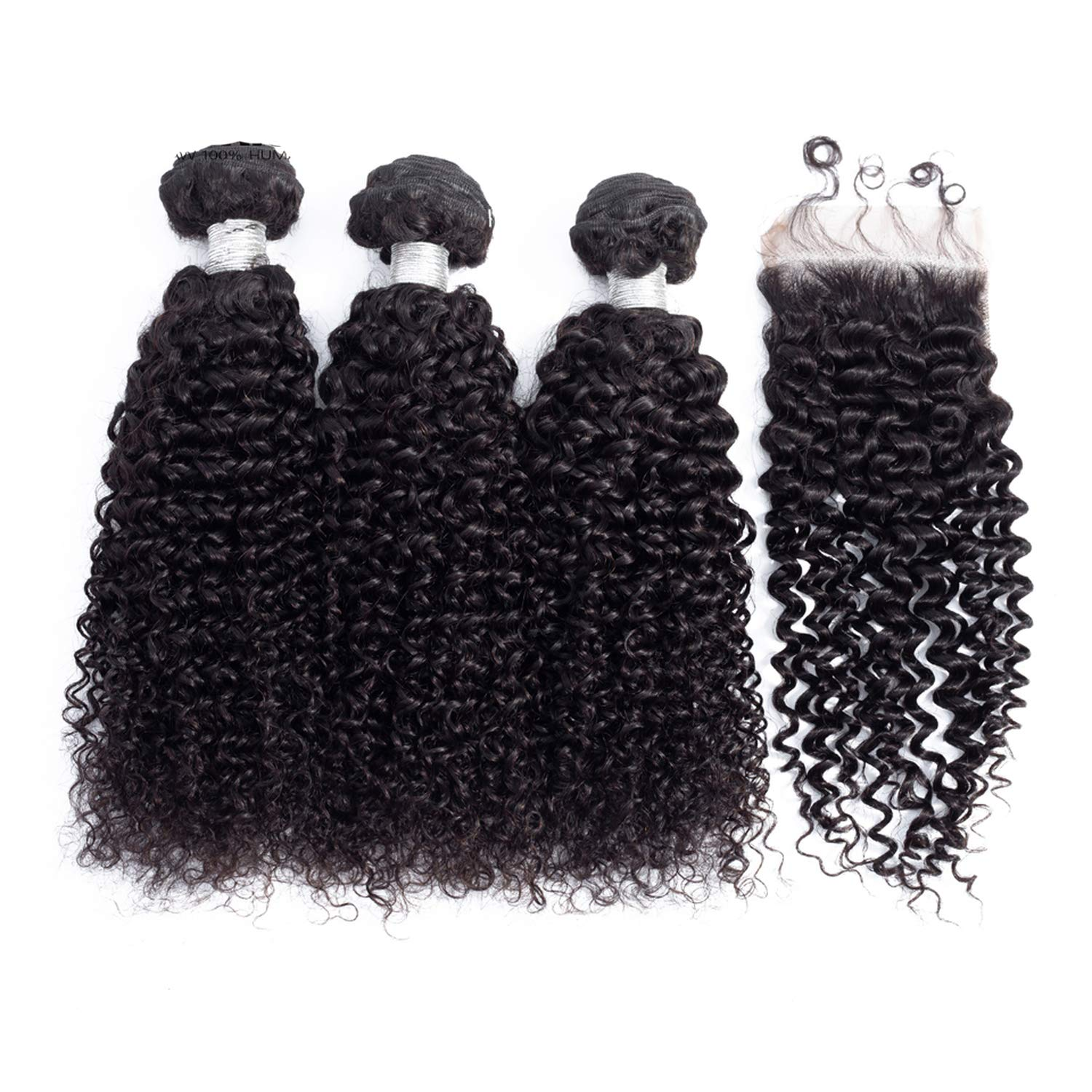 B07RNQYCG2 100% Peruvian Hair 4 PCS/Lot Kinky Curly Human Hair Bundles With 44 Closure With Baby Hair Natural Color,Natural Color,14 14 14 & Closure12,Free Part 719vQuDhpRL._SL1500_