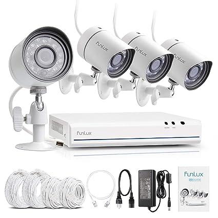 funlux HDMI de 4 Canales NVR SPOE 720P Red de Vigilancia 4 Cámara de Seguridad Exterior