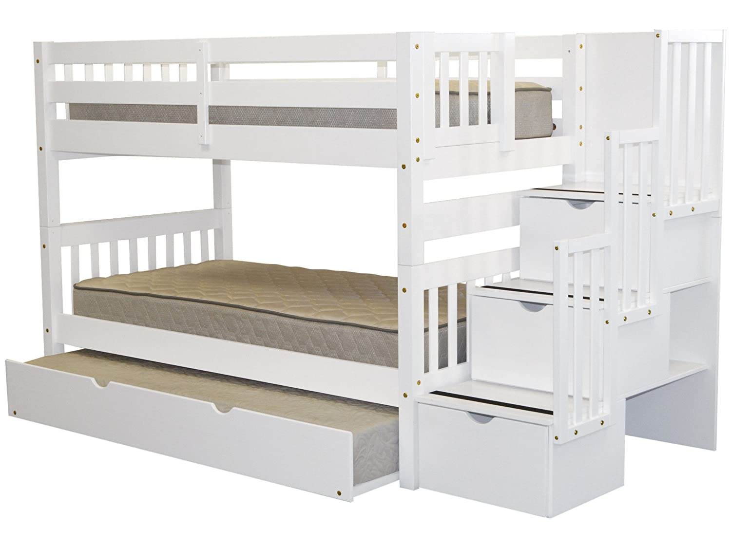 Bedz King Stairway Bunk Bed Twin over Twin with 3 Drawers in the Steps and a Twin Trundle - White
