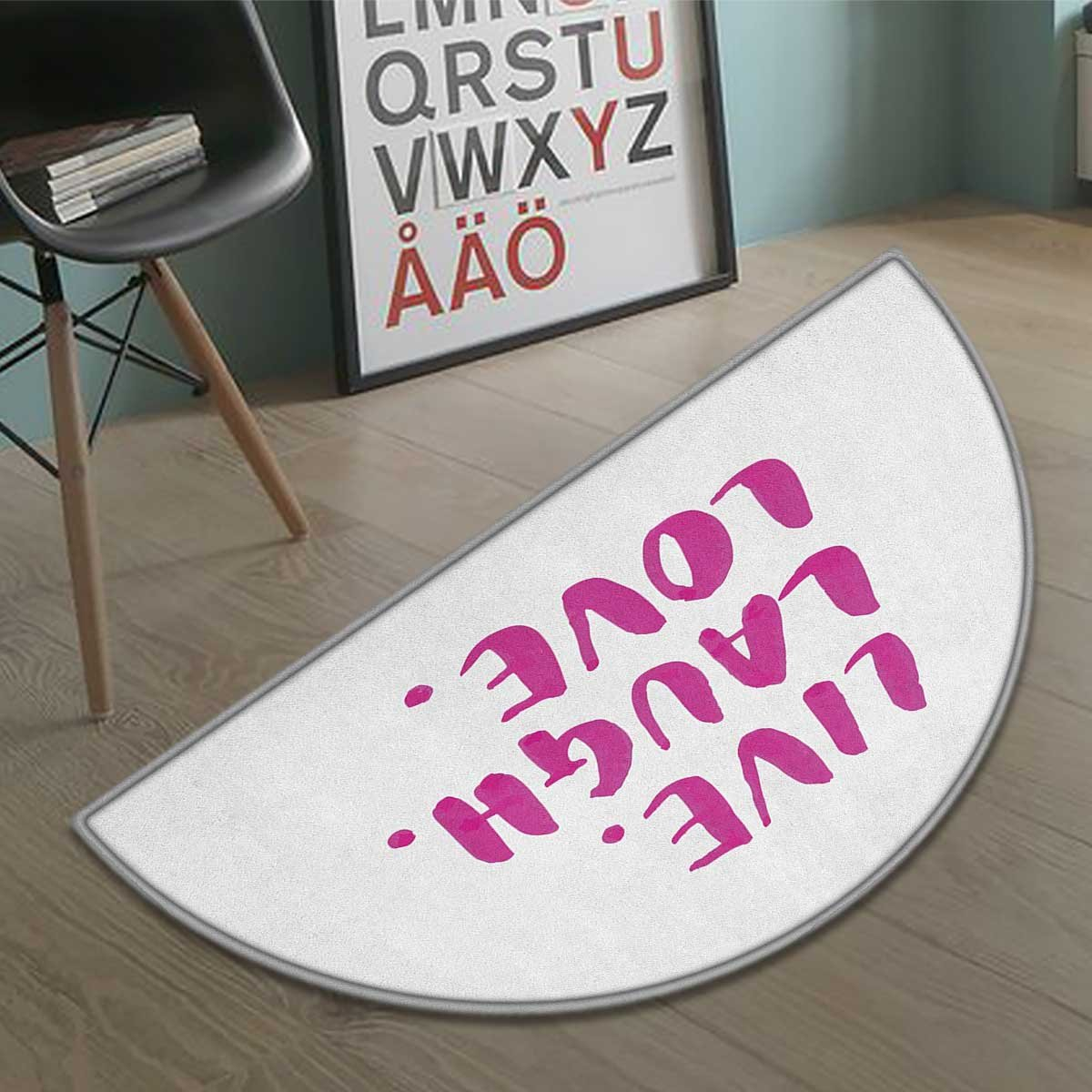 homefeel Live Laugh Love bath mats for floors Positive Live Laugh Love Quote with Brush Stroke Effect Hand Lettering door mat indoors Bathroom Mats Half Moon Non Slip Purple White size:23.7''x15.8''