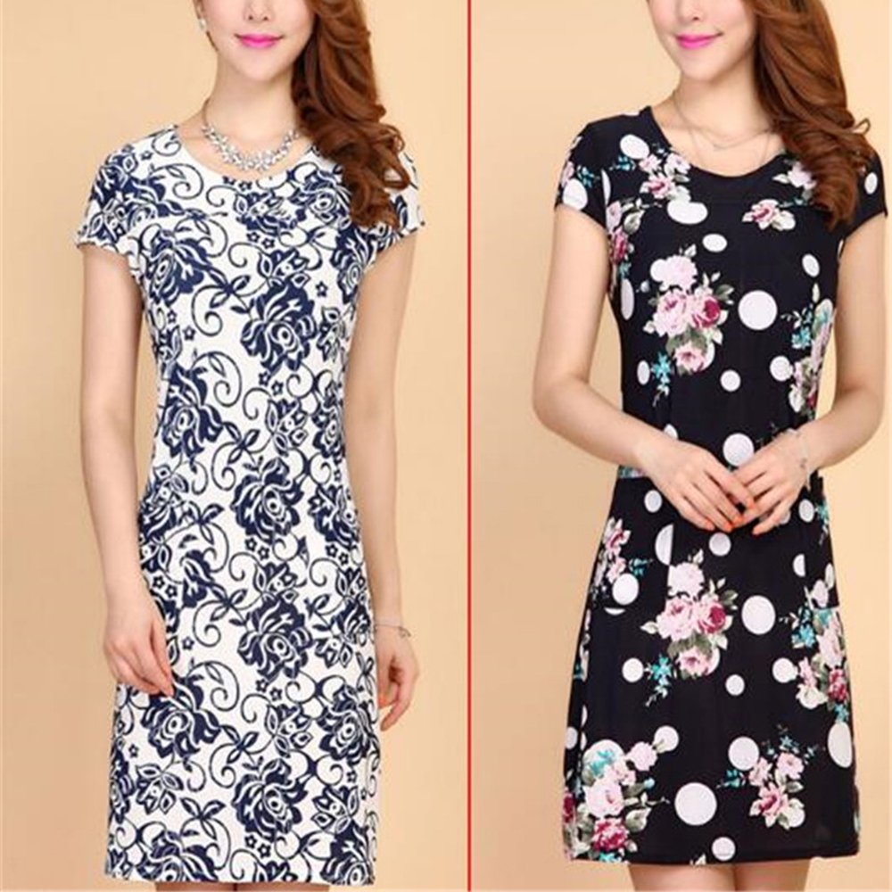 Print Summer Dress Short Sleeves Milk Silk Dresses Women Big Yards Slim  Female at Amazon Women s Clothing store  088261592