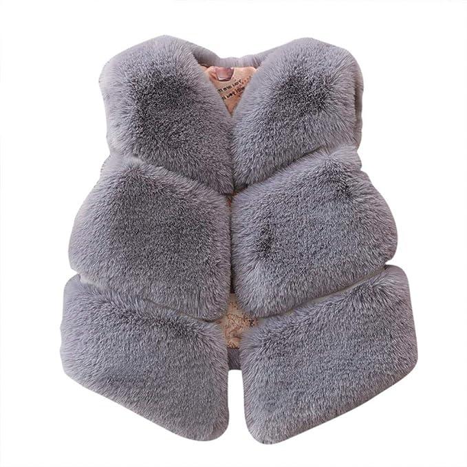 Pangyan990 otoño Invierno Chaleco de Piel Artificial Innovador Piecing cálido Abrigo de Chaqueta de Pelo de Conejo para niños niñas: Amazon.es: Ropa y ...