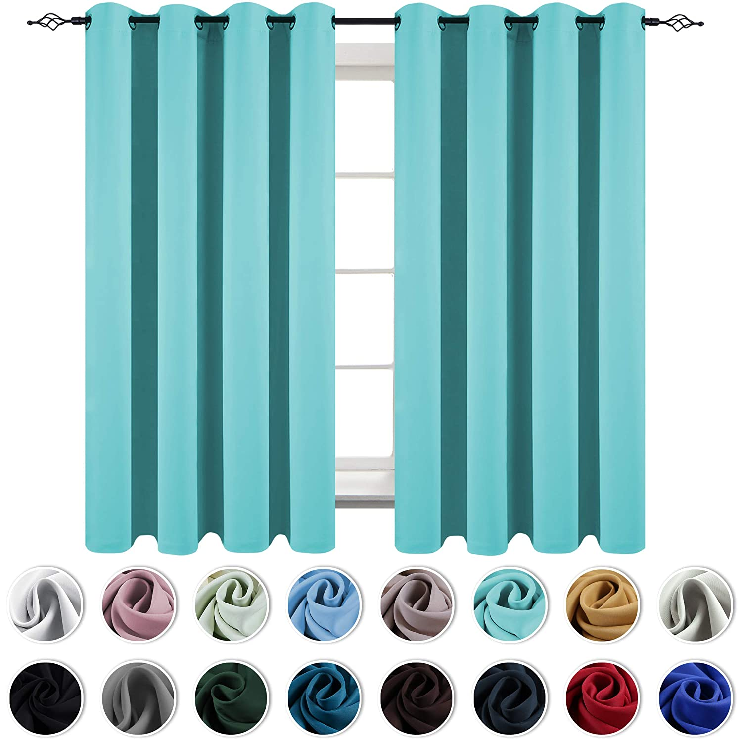 KEQIAOSUOCAI Turquoise 72 Inch Bedroom Curtains Window Treatment Thermal Insulated Room Darkening Solid Grommet Top Blackout Drapes for Kids Room 2 Panels 52 by 72 Inch Length