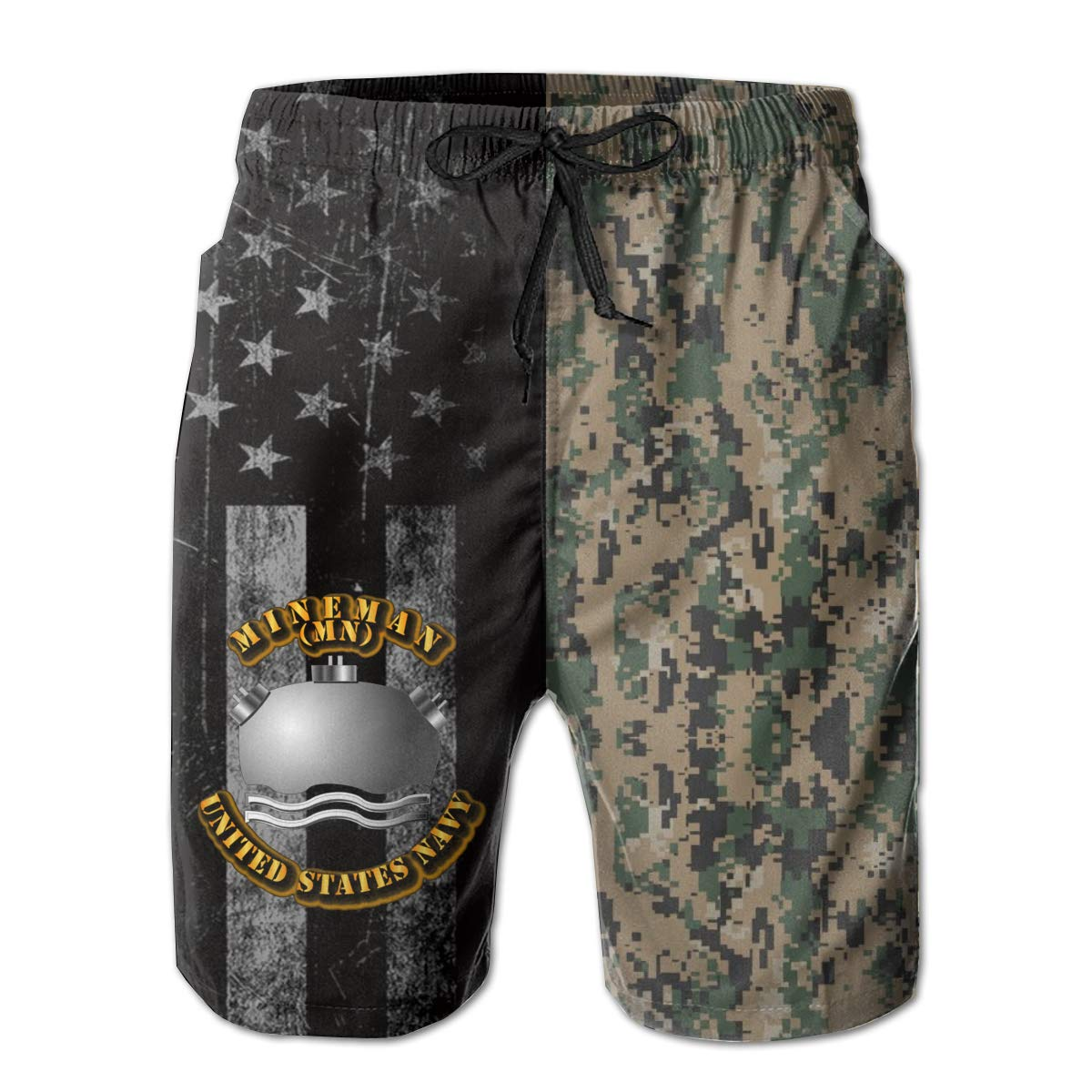 HANINPZ Navy Rate Mineman Mens Swim Trunks Beach Short Board Shorts