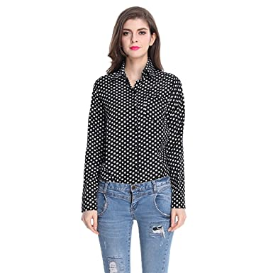 Quesera Women's Polka Dot Blouses Long Sleeve Collared Chiffon ...