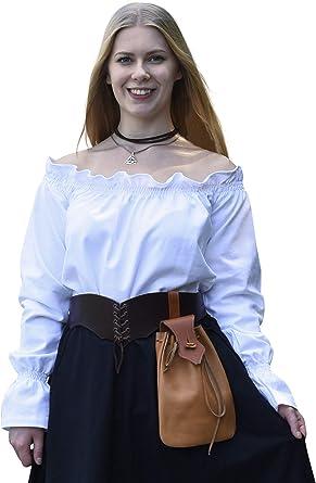 Blusa de Estilo Medieval con Cuello de Barco - Manga Larga - Natural/Blanco/Negro - Algodón - S - XXL