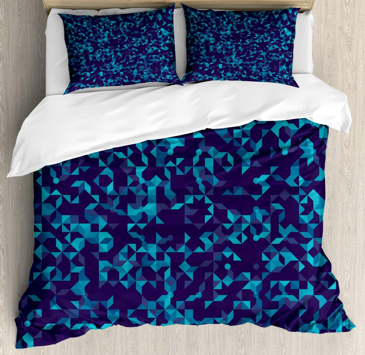 """Standard Quilt coverTriangle Dots Duvet Cover SetDecorative 3 Piece Bedding Set with 2 Pillow Shams70 x86/19""""x29""""inch"""