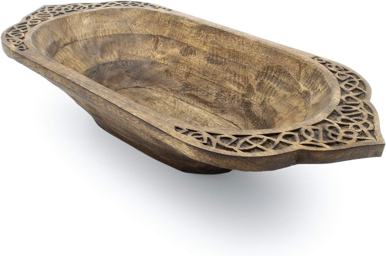Norse Tradesman Hand-Hewn Bread Bowl - Decorative Viking Design - (26 Inch)