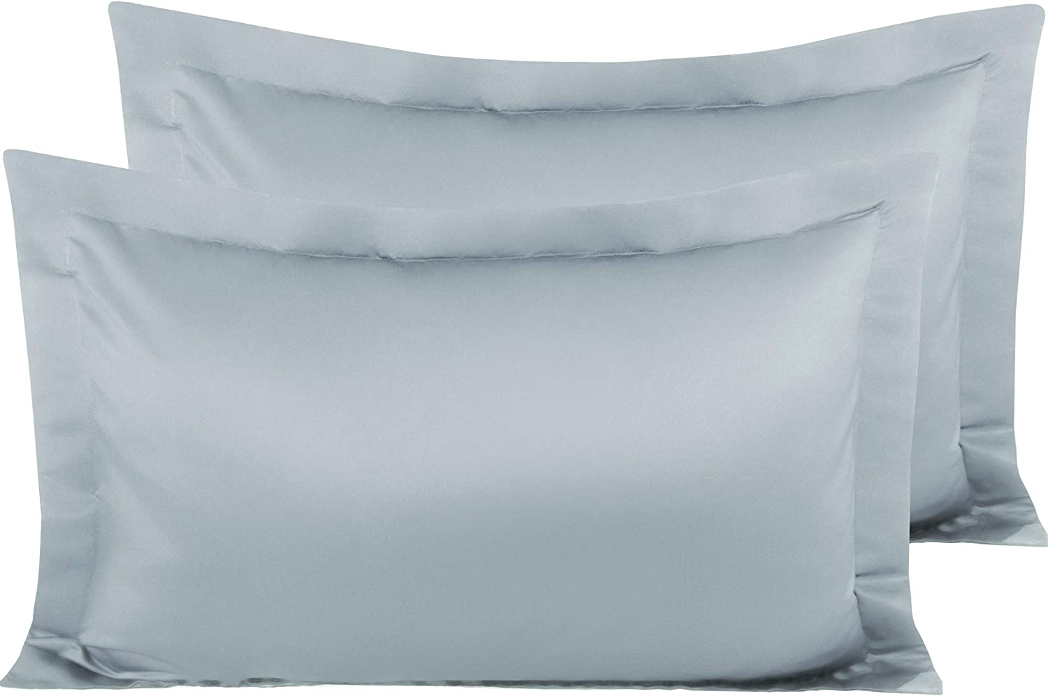 NTBAY Satin Pillow Shams, 2 Pack Super Soft and Luxury Pillow Cases, King Size, Grey