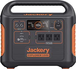 Jackery Portable Power Station Explorer 1500, 1488Wh Portable Generator with 3x110V/1800W AC Outlets, Solar Mobile Lithium Battery Pack for Outdoor RV/Van Camping, Overlanding, Emergency