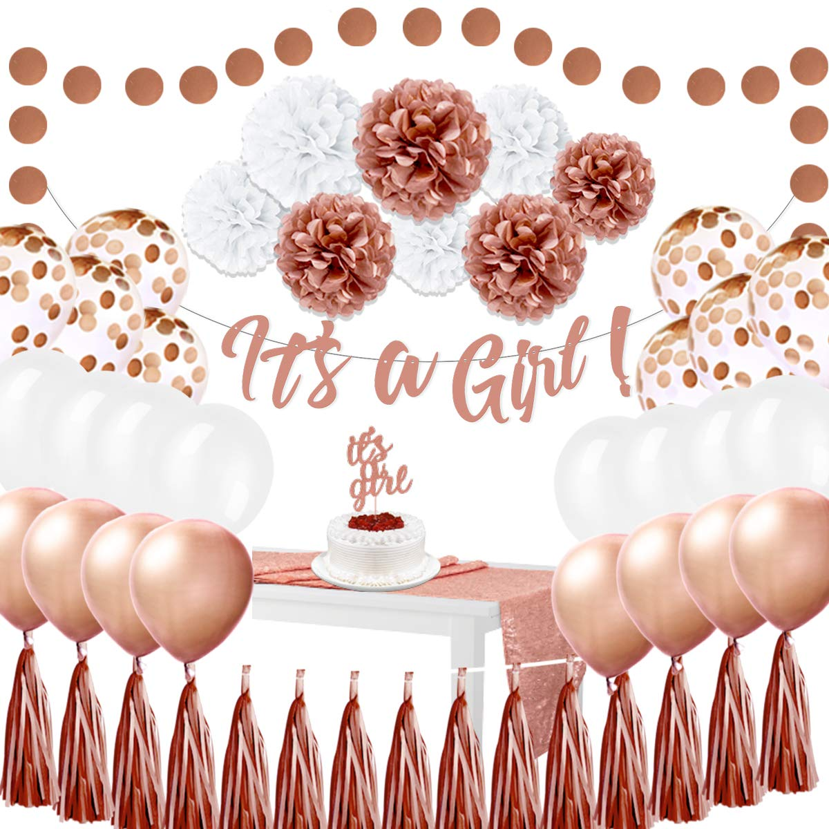 EpiqueOne Baby Shower Decorations for Girl – It's A Girl Princess Party Decoration Kit – 52-Piece Complete Set – Rose Gold – Includes Large Banner and Sequin Table Runner