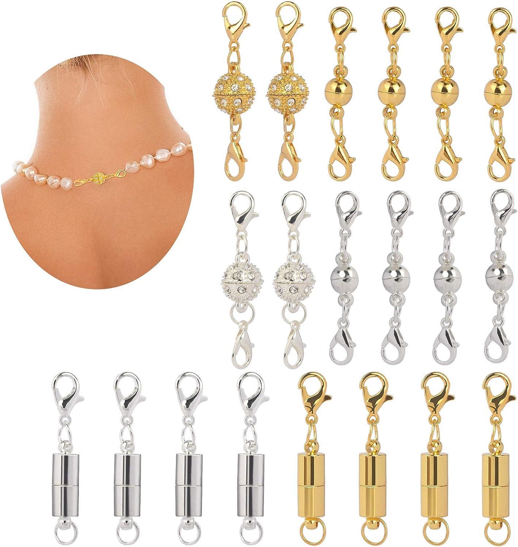 Cierre Magnético para Pulsera CHIFOOM 20pcs Collar de Cierre Estilo de Cremallera Magnética Joyería de Fabricación de Bolas de Diamantes de Imitación, Colores Dorado y Plateado Decoración DIY