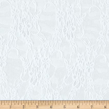 c985a238979e7b Amazon.com: Ben Textiles Giselle Stretch Floral Lace White Fabric by The  Yard