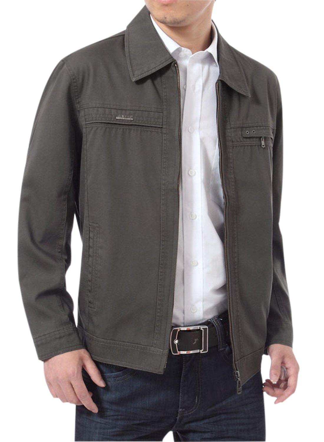 Gihuo Men's Casual Cotton Zip-Front Lightweight Jacket (X-L, Dark Grey)