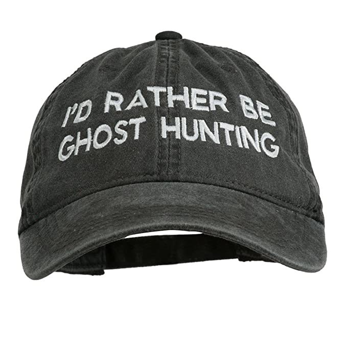 47f4fb5d0526d E4hats I d Rather Be Ghost Hunting Embroidered Washed Cap - Black OSFM at  Amazon Men s Clothing store