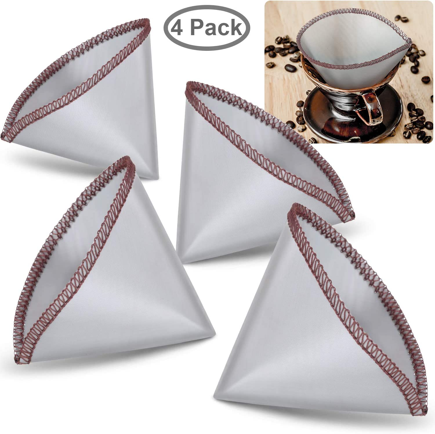 4 Pieces Reusable Pour Over Coffee Filter Mesh Paperless Coffee Filter Stainless Steel Cone Filter 1 zu 2 Cup Coffee Drip Compatible mit Hario, Chemex, Ovalware
