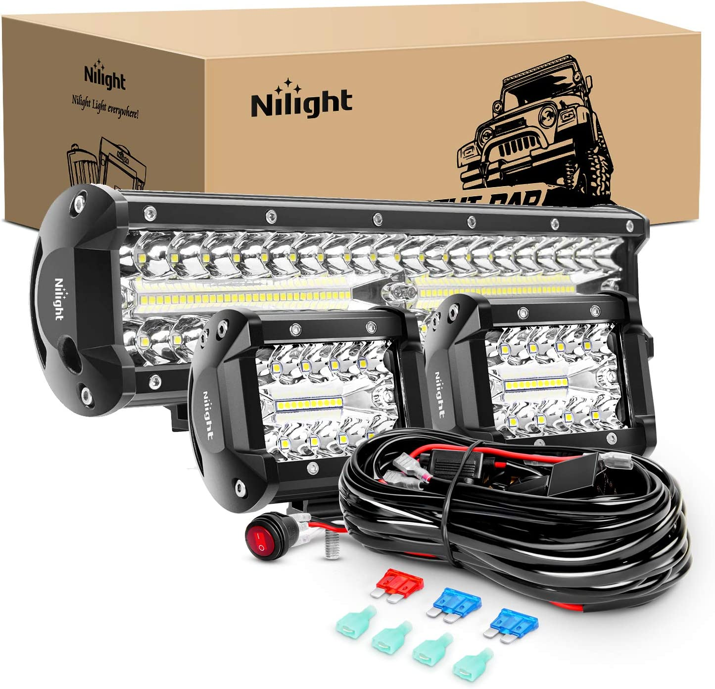 Nilight ZH414 Bar Set, 12 inch 300W Combo Work Driving Lamp, 2 Pcs 4 inch 60 W Triple Row Flood Spot LED with Wiring Harness for Off Road ATV Boat Lighting, 2 Year Warranty