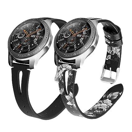 YaYuu 22mm Cuero Correa de Reloj Samsung Galaxy Watch 46mm Reemplazo de Banda Genuino Cuero Deportiva Pulsera para Gear S3 Frontier/Classic/Moto 360 ...