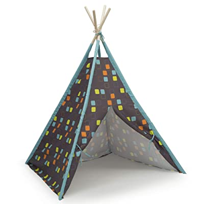Delta Children Teepee Play Tent for Kids | Cotton Canvas with Wooden Poles, Geometric Squares: Toys & Games