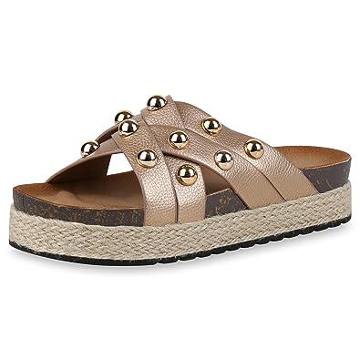 SCARPE VITA Damen Sandaletten Plateau Pantoletten Bast Sommer Schuhe Nieten  Rose 166104 Rose Gold Bast 40 5dcf6cc3a5