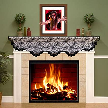 Amazon Com Aytai Black Lace Bats Fireplace Mantel Scarf Unique Fan