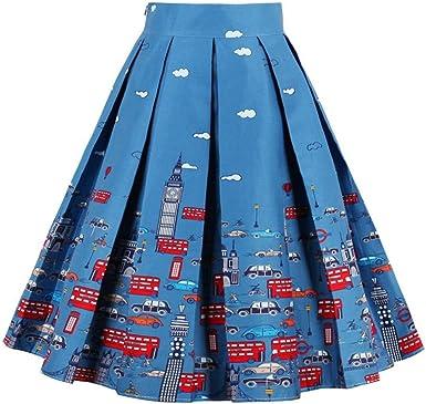 Vestido de Falda a Media Pierna para Mujer, Cintura Alta Patrón de ...