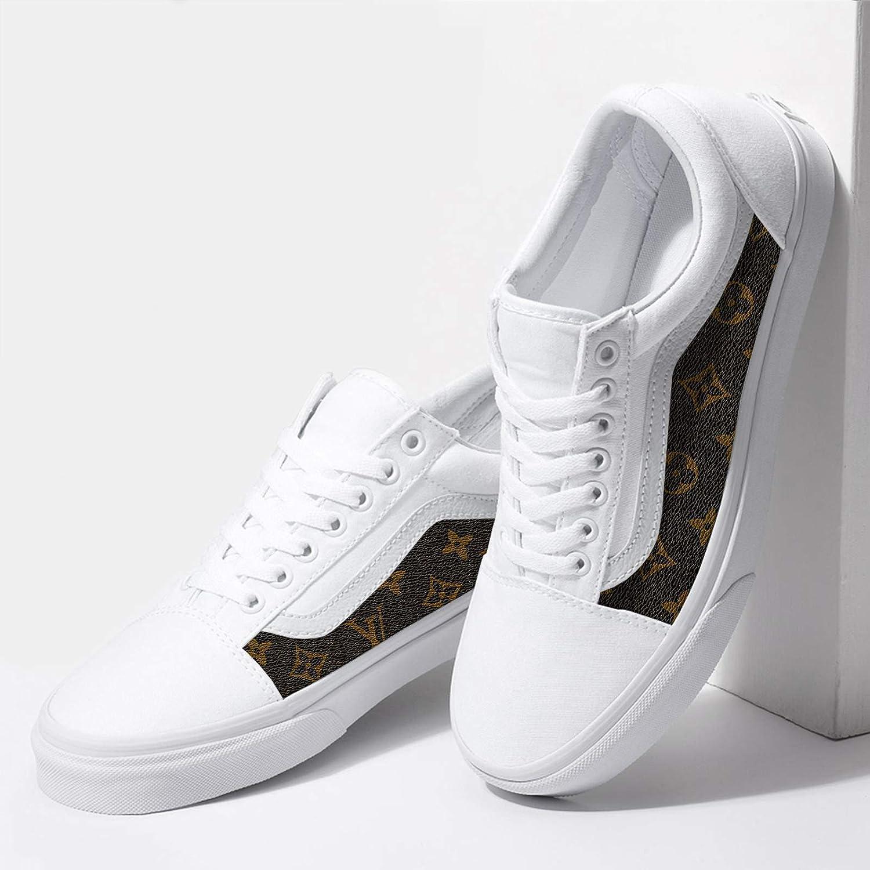 Amazon.com Vans White Old Skool x Brown Pattern Custom