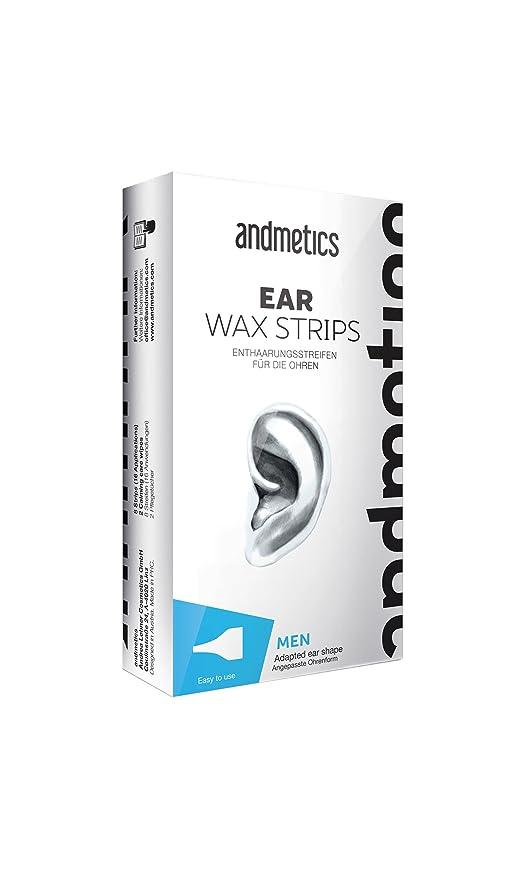andmetics Ear Wax Strips – Orejas fría Cera depilatoria rayas para cara, 10 unidades