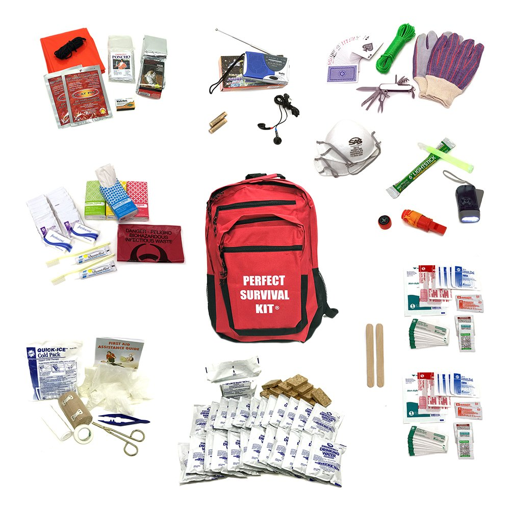 Deluxe 2-Person Perfect Survival Kit for Emergency Disaster Preparedness for Earthquake, Hurricane, Fire, Evacuations, Auto, Home and Family by Perfect Survival Kit