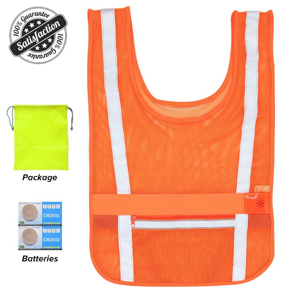 CLAN-X Reflective Running Vest LED Safety Lights Vest, Adjustable Lightweight& Comfortable Mesh Reflective Vest Gear for Running, Cycling, Hiking, Jogging, Motorcycling, Night-working (Orange)