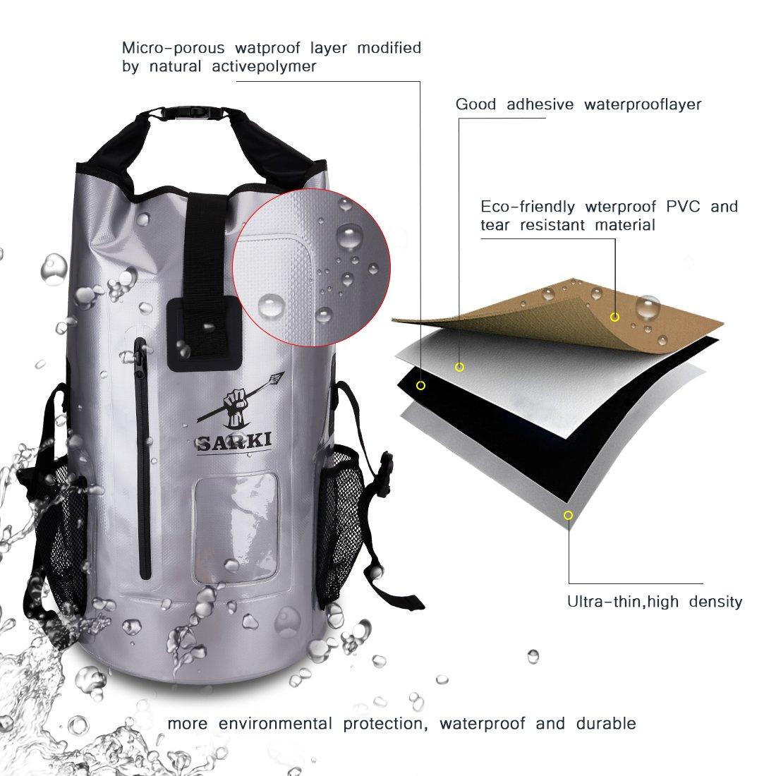 SARKI 30L Waterproof Backpack-Dry Bag with Zipper Pocket and Padded  Shoulder Straps - Large Dry Sack for Kayaking c343a0050a01c