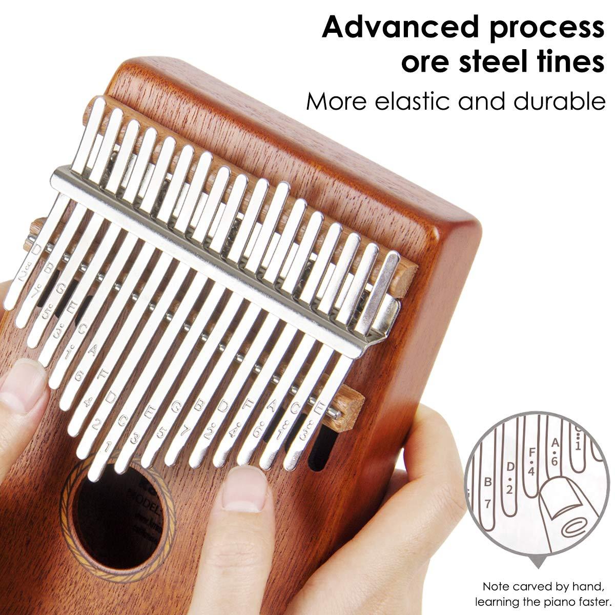 Kalimba 17 Key Finger Piano Marib Mahogany with Padded Gig Bag Tuner Hammer By Kmise by Kmise (Image #5)