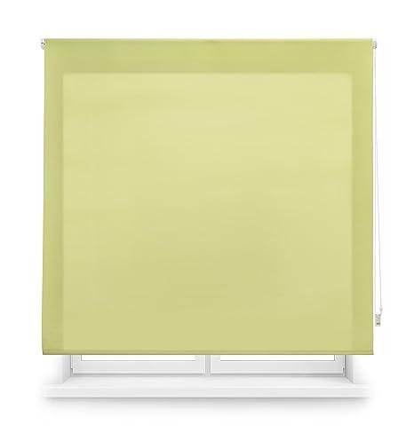 Blindecor Ara - Estor enrollable translúcido liso, 100 x 175 cm, color pistacho