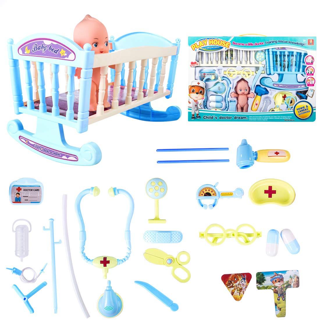 Foxom Arztkoffer Kinder, 12 Stück Kinder Arztkoffer Doktorkoffer Spielzeug Doktor Spielset Rollenspiel Lernspielzeug für Mädche und Junge ab 3 Jahre