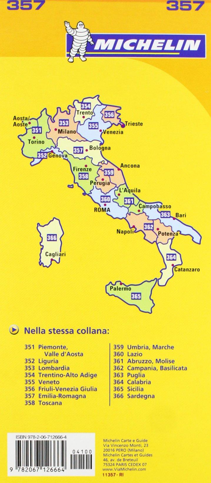 Cartina Veneto Michelin.Michelin Map Italy Emilia Romagna 357 Maps Local Michelin Italian Edition Michelin 9782067126664 Amazon Com Books
