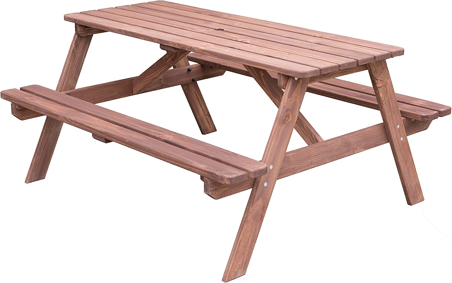 Gardenised QI003469L.N A-Frame Outdoor Wooden Patio Deck Garden Picnic Table Natural