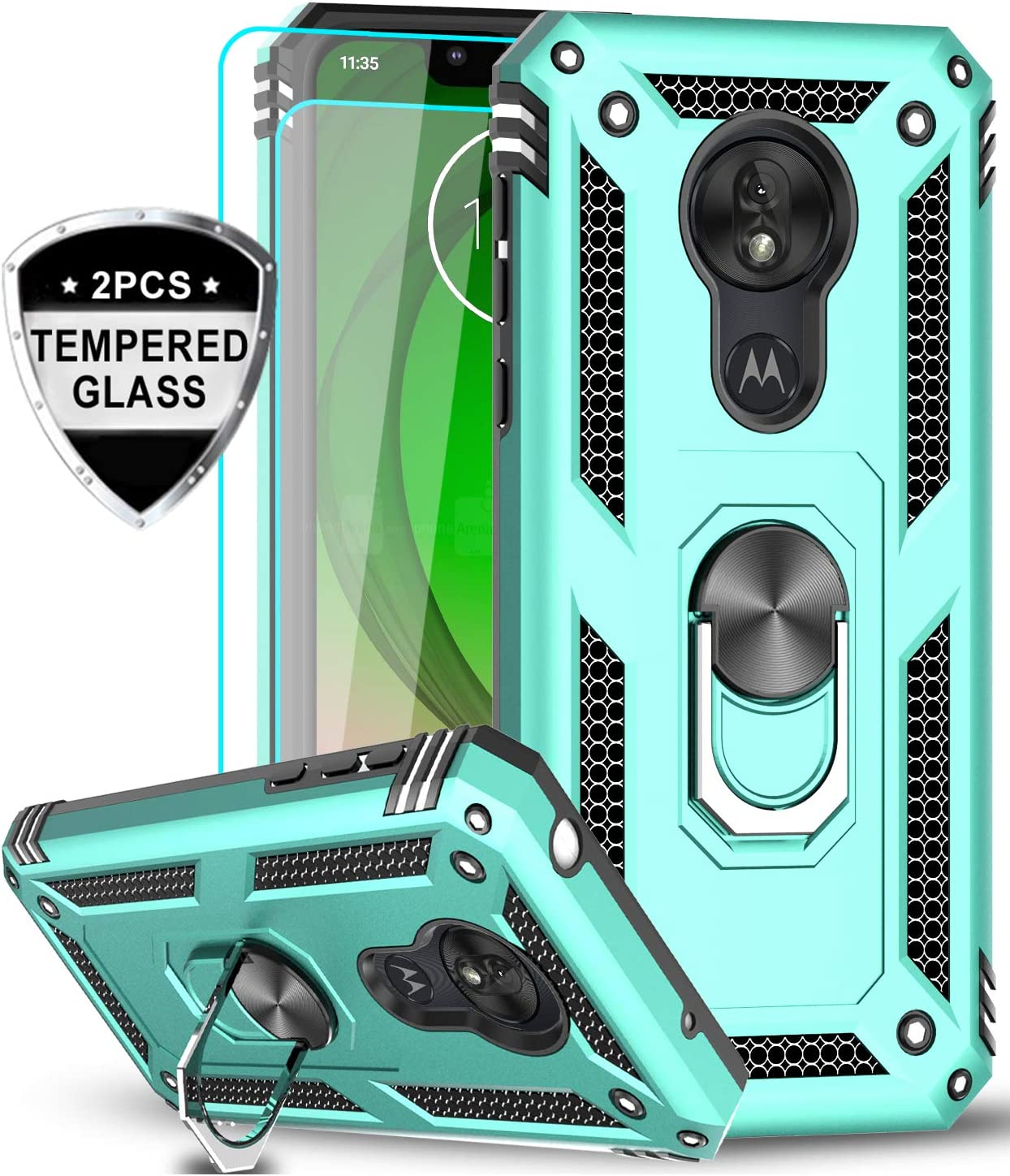 LeYi Moto G7 Play Case (Not Fit Moto G7) with Tempered Glass Screen Protector [2 Pack], Military Grade Defender Phone Case with Magnetic Car Mount Kickstand for Moto G7 Play, Mint