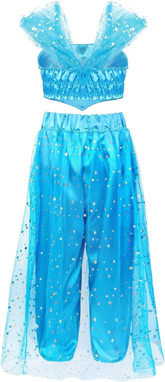 AmzBarley Jasmine D/éguisement Enfant Fille Arabe Aladdin Princesse Costume Ensemble de Pantalons Haut D/écor/é Paillette Tenu Danse Cosplay Halloween