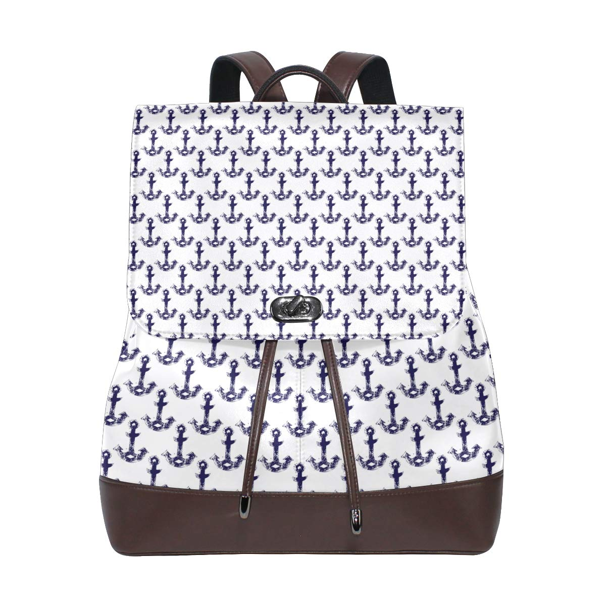Leather Ananchors In Navy Blue And White Backpack Daypack Elegant Ladies Travel Bag Women Men