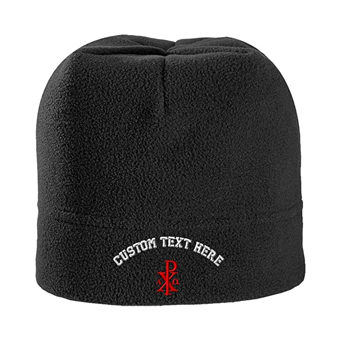 cbf827e5582 Custom Text Embroidered Chi Rho with Alpha Omega Unisex Adult  Polyester Spandex Stretch Fleece Beanie