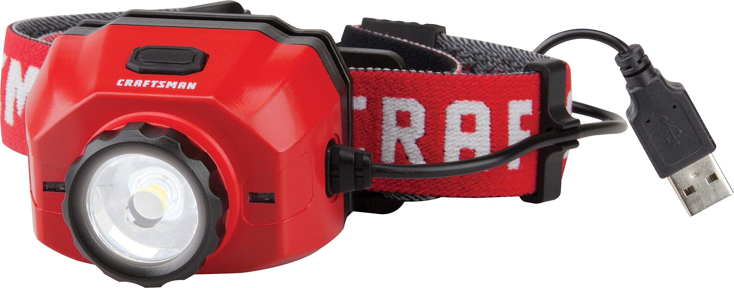 Craftsman CMXLHB5 Hands Free Rechargeable 500 Lumen Lithium Ion LED Headlamp Flashlight with Adjustable Headband and Focus Lens by Craftsman