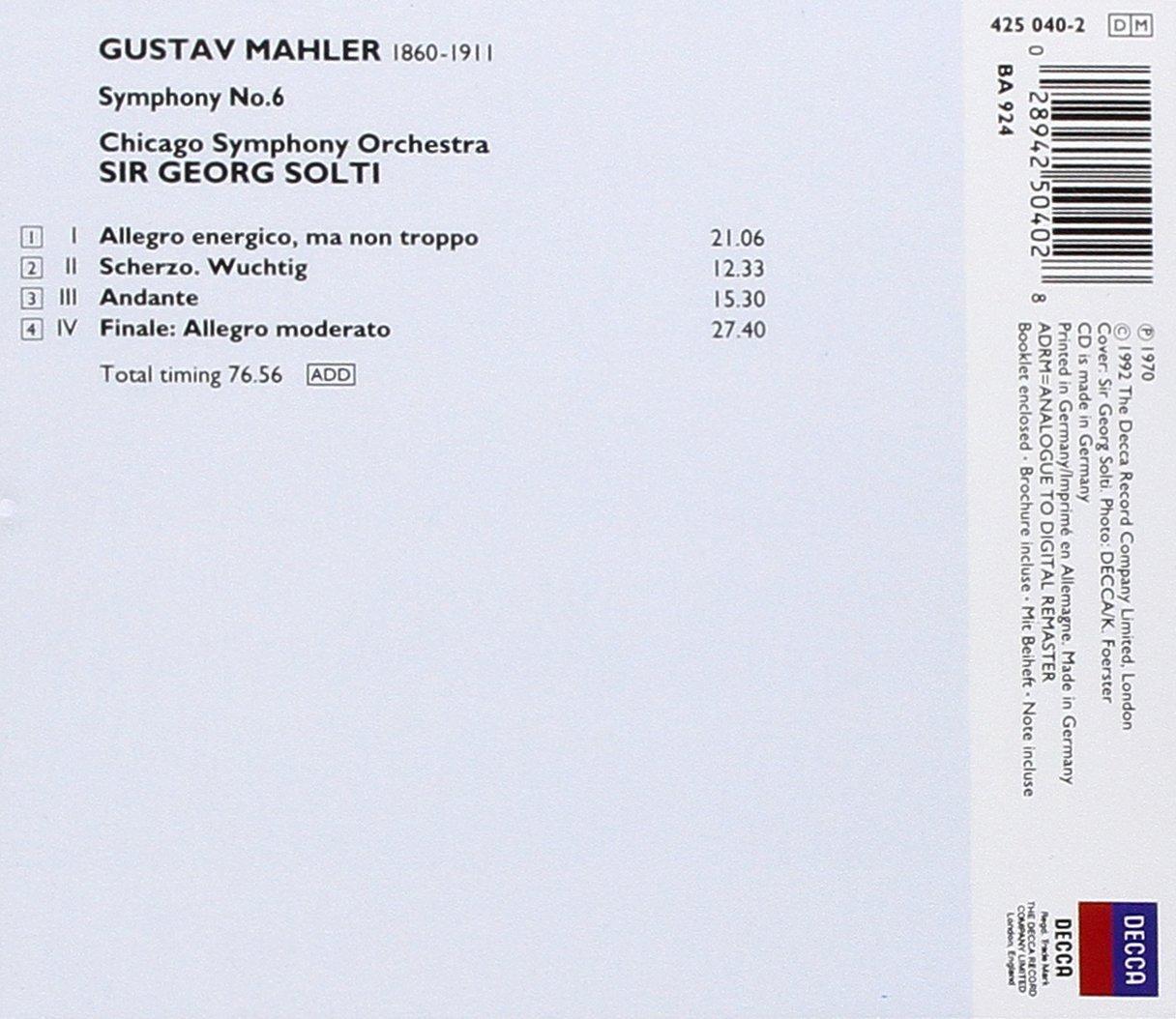 Gustav Mahler, Sir Georg Solti, Chicago Symphony Orchestra - Symphony 6 -  Amazon.com Music
