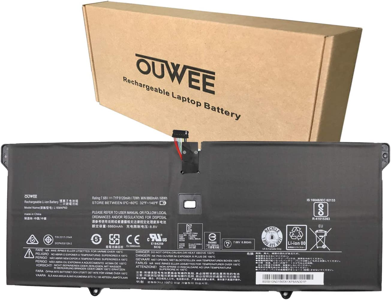 OUWEE L16M4P60 Laptop Battery Compatible with Lenovo Ideapad Flex Pro-13IKB Yoga 920-13IKB Glass Series Notebook 5B10N01565 5B10W67249 L16C4P61 5B10N17665 7.68V 70Wh 9120mAh 4-Cell