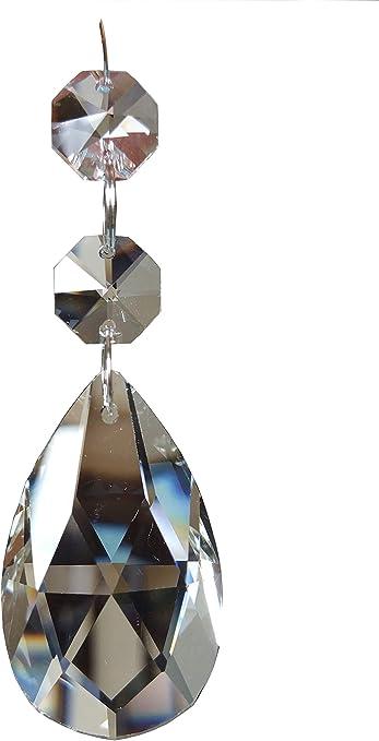"3-Vintage Antique Pink Czech Glass Tear Drop Chandelier Crystal Prism 5/"" P-2"