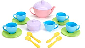 Green Toys BPA Free Tea Set for Gross Motor, Fine Skills Development