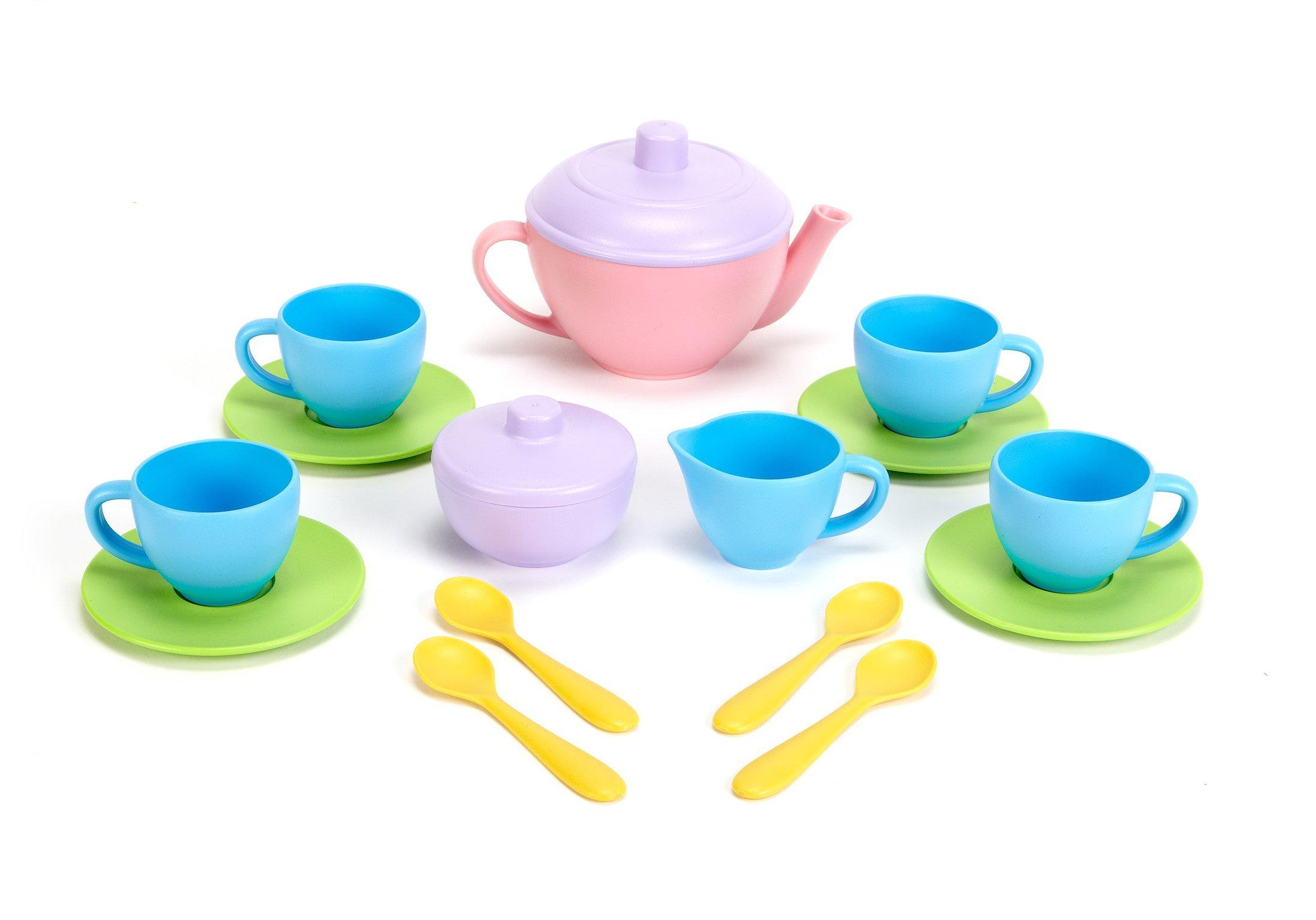Green Toys Tea Set - BPA Free, Phthalates Free Play Toys for Gross Motor, Fine Skills Development. Kitchen Toys by Green Toys