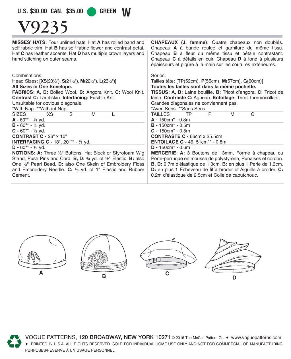 Vogue Patterns 9235 OS patrón de Costura para Sombreros ...