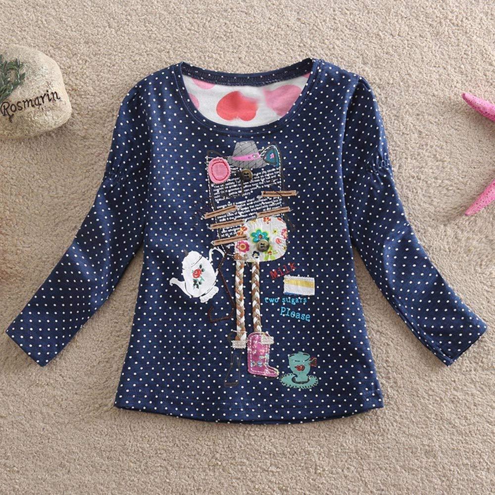 BURFLY Toddler Baby Kid Girl Abstract Cartoon Knitting Pattern Polka Dot Print Pullover Tops Clothes 2-7 Years