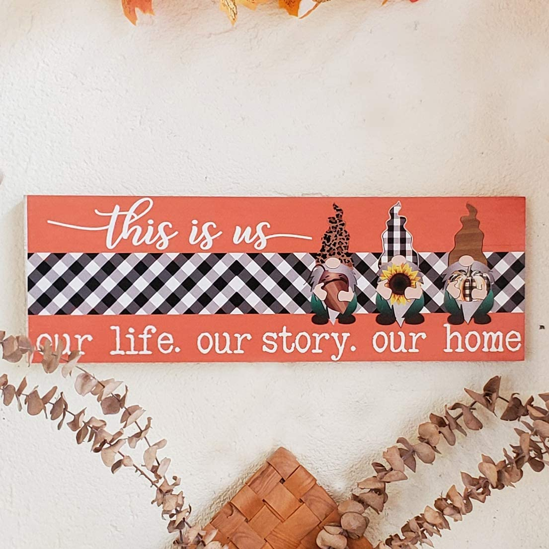 HLFMVWE Wood Wall Sign,This is Us Wall Decor, Plaid and Gnomes Prints Modern Farmhouse Decor Plaque,Christmas Home Decoration